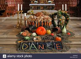 thanksgiving decoration in front of the altar in the neo
