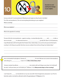 worksheet to teach the tenth of the 10 commandments do not covet