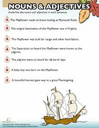 Thanksgiving Worksheets For 3rd Grade Thanksgiving Nouns And Adjectives 4 Worksheets Language Arts