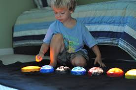 push light planets activities for children paint play rainy