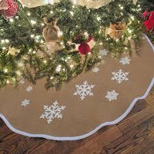 ourwarm 30 48inch jute burlap snowflake christmas tree skirt