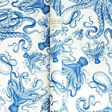 friday find blue octopus wrapping paper gift co