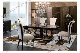 Italian Lacquer Dining Room Furniture Large Dining Set For Sale Carved Solid Wood Dining Table 6 Chairs
