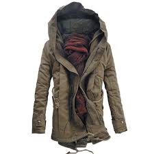 wholesale hooded double zip up padded parka coat l dark khaki