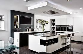 Small Space Open Kitchen Design Open Kitchen Design For Small Spaces With Black And White Color