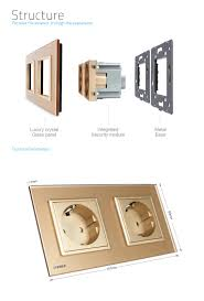 Luxury Power Outlets Livolo Gold Crystal Glass Panel Eu Standard Double Power Sockets