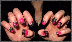 nail designs pink and black beautify themselves with sweet nails