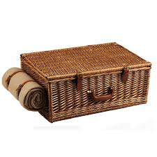 Picnic Basket Set For 4 Picnic Basket W Blanket Real Wicker Picnic Basket