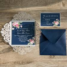 wedding invitations navy navy blue floral silver laser cut invitations ewws090 as low as