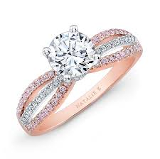 Rose Gold Wedding Ring by 18k Rose And White Gold Pink And White Diamond Split Shank Diamond