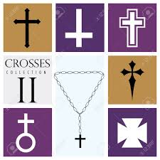 different types of purple set of different types of crosses on purple background vector