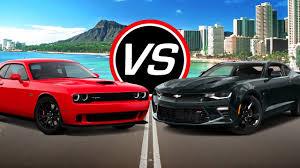 whats better a camaro or challenger 2016 dodge challenger srt hellcat vs chevy camaro ss spec