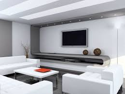 Interior Elegant Modern White Living Room Featuring Silver Wall