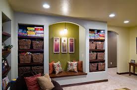 finished basement shelving ideas