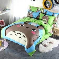 brand grey totoro cartoon kids bedding set 3 4pcs 100 cotton duvet