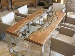 Wood Slab Dining Table Designs Glass Wood Metal Modern Dining Room Cool Dining Room Table