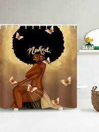 afro hair fashion girl take a bath shower curtain in coffee 180 afro hair fashion girl take a bath shower curtain coffee 180 200cm