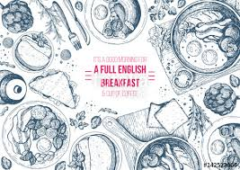 english breakfast top view frame english food menu design