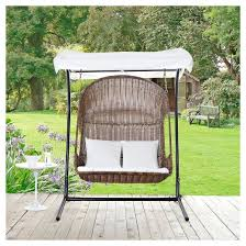 Target Patio Swing Vantage Outdoor Patio Wood Swing Chair In Brown White Modway
