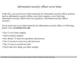 information security officer cover letter chief information
