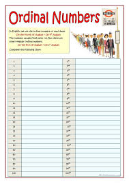 ordinal and numeral numbers esl worksheets of the day