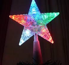 pentagram led tree topper light multi color flash