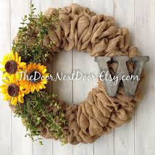 burlap sunflower wreath monogram boxwood wreath burlap wreath from the door next door