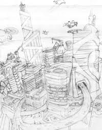 futuristic city early sketch by loone wolf on deviantart