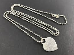 silver bead necklace tiffany images Tiffany co sterling silver please return to heart tag 34 quot ball jpg