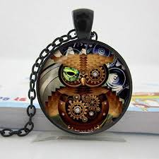 steampunk pendant necklace images Steampunk owl glass cabochon necklace nature 39 s treasure trove jpg