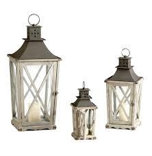 set of 3 cornwall rustic weathered wood metal candle lanterns