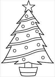 tree outline blank tree with ornaments coloring page