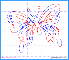 free grid line printable butterfly grid line drawing