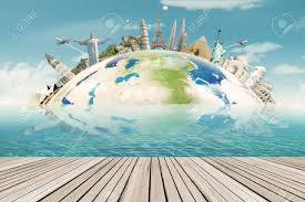 monuments for image of a globe with the worldwide monuments for vacation concept
