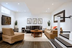 Basement Ideas Houzz - minimalist basement ideas with brown leather couch hupehome