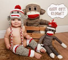 Sock Monkey Baby Bedding Sock Monkey Hat U0026 Leg Warmers Set Made To Order Crochet