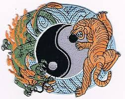 tiger yin yang embroidered iron on
