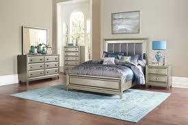 Contemporary California King Bedroom Sets - homelegance hedy 4pcs modern silver wood mirror cal king bedroom set