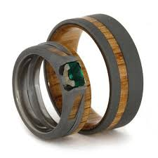 titanium wedding ring sets emerald engagement ring with matching oak wood wedding band
