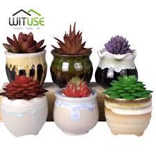online get cheap ceramic garden planters aliexpress com alibaba wituse 6pcs set succulent flowerpot cactus bonsai planter ceramic flowing glazed garden pot plant desktop