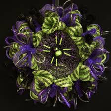 spider halloween wreath purple black silver lime green