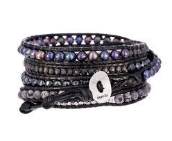 black leather wrap bracelet images Chan luu pearl and mixed stone black leather wrap bracelet in jpg