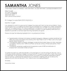 college counselor cover letter sample livecareer
