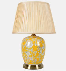 melon jar lamp with floral decoration and shade read more this