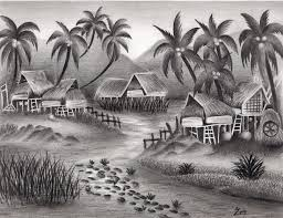 gallery indian village scenery sketches drawing art gallery