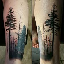 mens forest forearm tree designs tattoos