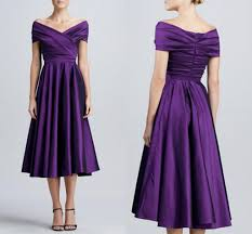 tea length purple satin mother off bride dresses 2015 cheap new