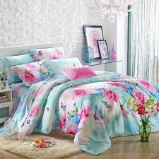 Pink Rose Duvet Cover Set Blue Red And Pink Antique Rose Pattern And Farm Animal Butterfly