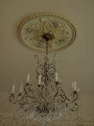 Light Fixture Ceiling Medallion by Hand Painted Ceiling Medallion Chandeliers Lanterns Sconces