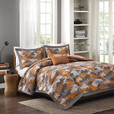 Orange Camo Bed Set Boys Grey Orange Camouflage Comforter Set Army
